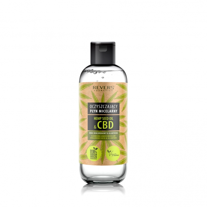 CLEANSING MICELLAR LIQUID WITH NATURAL HEMP OIL WITH CBD
